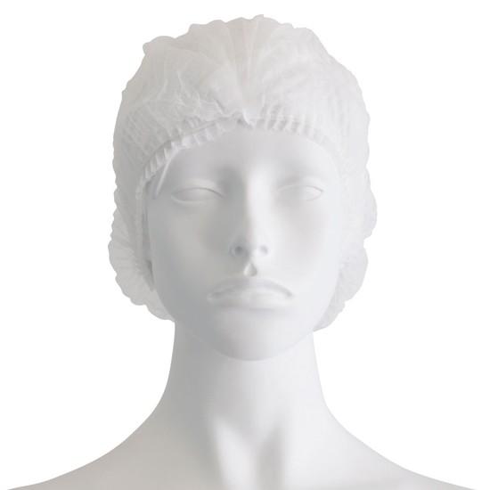 Σκούφια non woven ακορντεόν γύρω λάστιχο λευκό
